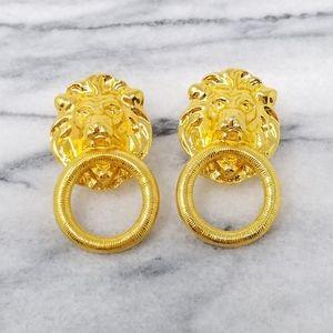 Vintage Lion Door Knocker Earrings Gold Tone